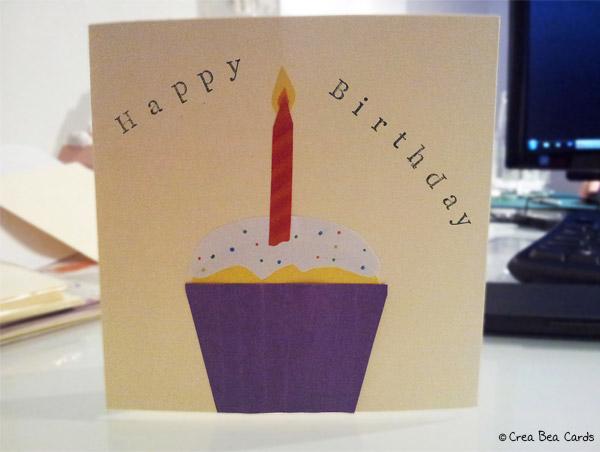 crea bea cards, birthday cupcake instructions