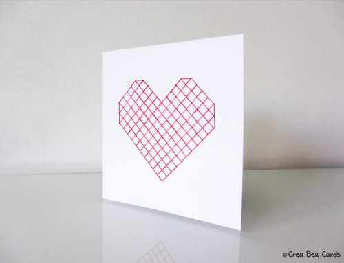 Sewn heart card II