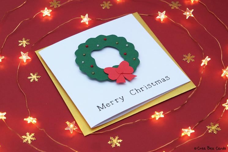 handmade card of Christmas wreath card tutorial, from aside