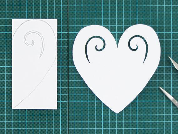 heart, shaped, card, step 2, 3