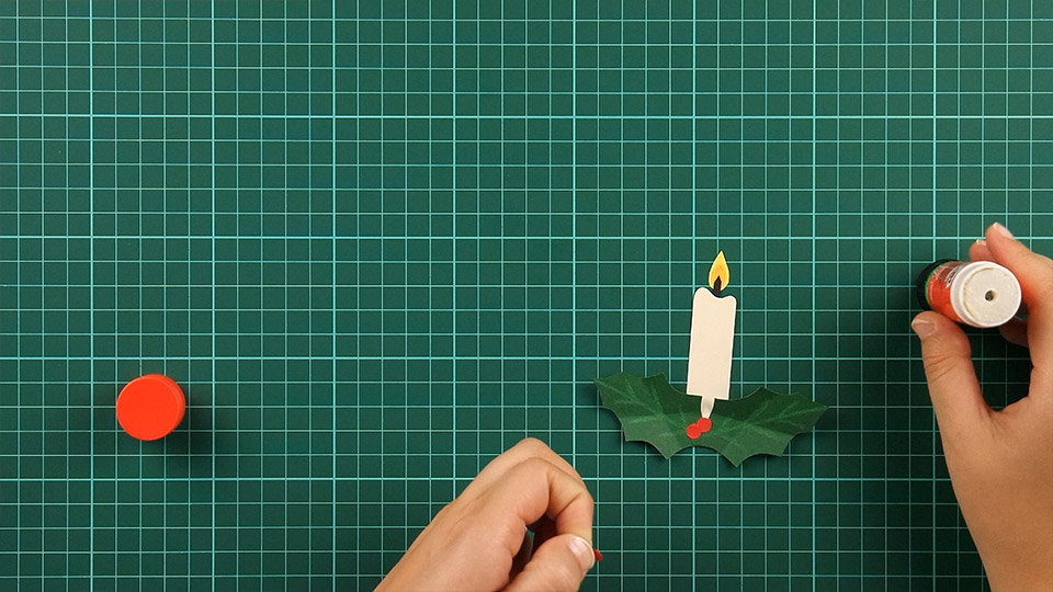 christmas,candle,card,step 12
