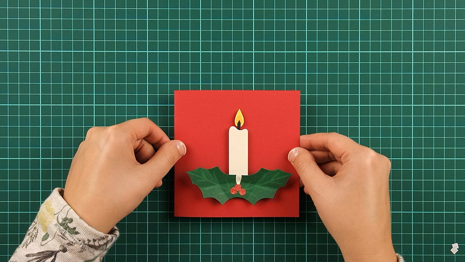 christmas,candle,card,step 16