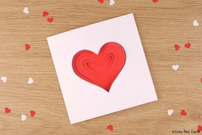simple papercut heart card love cards