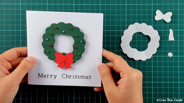 optional step of Christmas wreath card tutorial