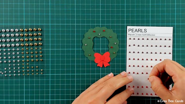 step 11 of Christmas wreath card tutorial