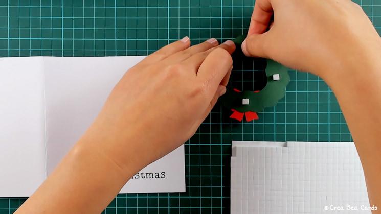 step 13 of Christmas wreath card tutorial