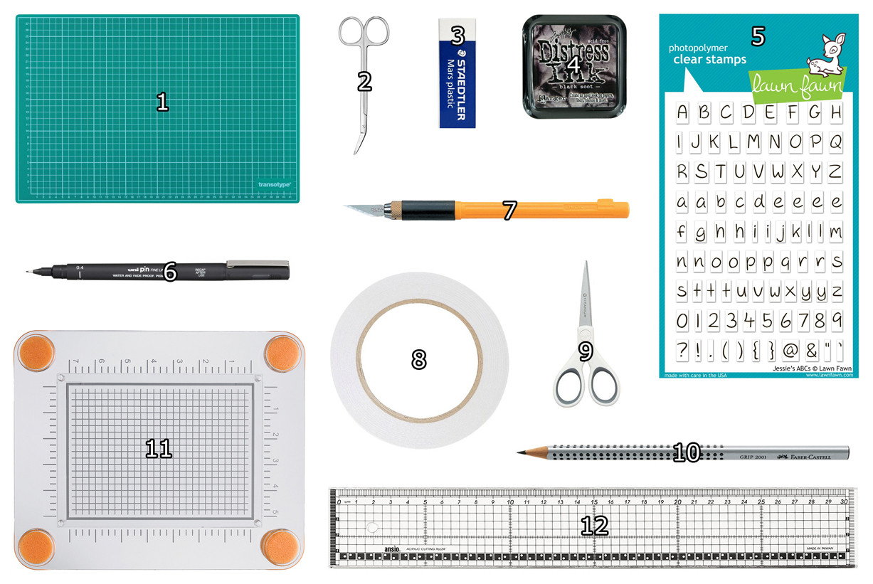 overview of craft supplies which I use for cardmaking
