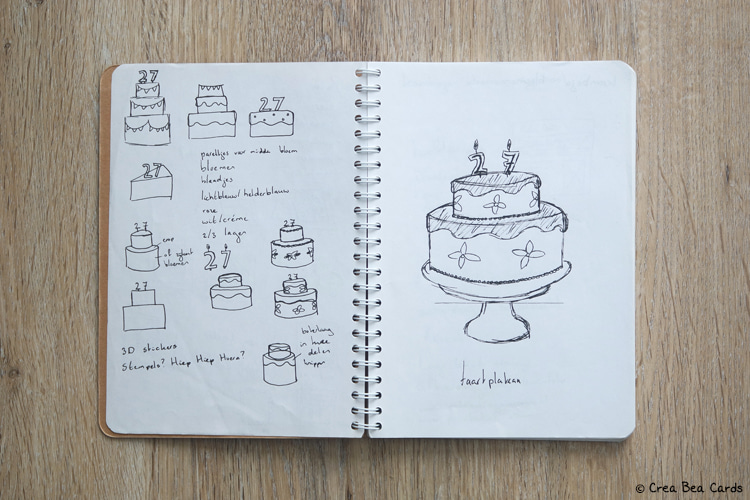 sketches in sketchbook dedicated to birthday cake ideas