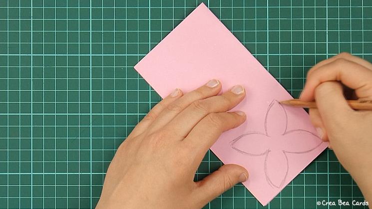 flower card, tutorial, card making, step 2