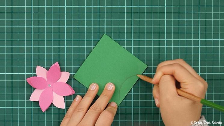 flower card, tutorial, card making, step 8